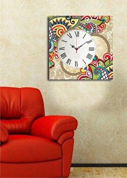 Tablou decorativ cu ceas Clock Art, 228CLA1660, Multicolor elefant