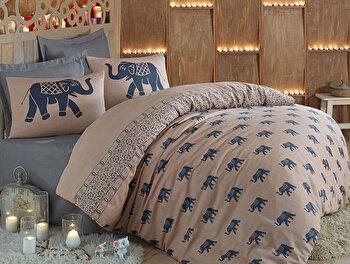 Lenjerie de pat dubla 200x220 cm, Eponj Home, 143EPJ1639, Multicolor elefant