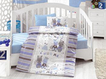 Lenjerie de pat pentru copii, Cotton Box, 129CTN2085, Multicolor elefant