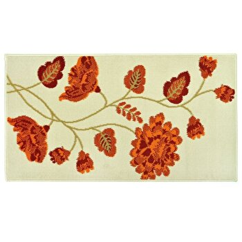 Covor Decorino Floral C04-020101, Crem/Portocaliu/Maro, 80x150 cm