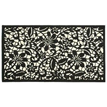 Covor Decorino Floral C04-020112, Negru/Alb, 80x150 cm imagine