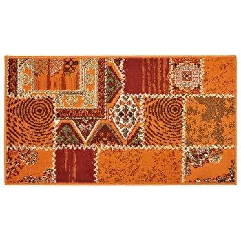 Covor Decorino Patchwork C05-020115, Portocaliu/Rosu, 60x110 cm