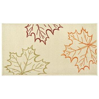 Covor Decorino Floral C05-020116, Crem/Rosu/Verde/Portocaliu, 60x110 cm