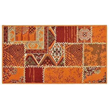 Covor Decorino Patchwork C04-020115, Portocaliu/Rosu, 80x150 cm