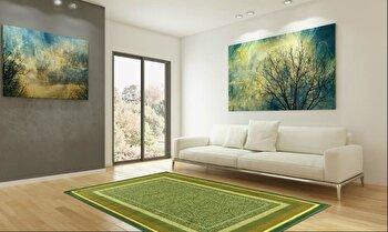 Covor Decorino Modern & Geometric C23-030205, Verde/Maro/Bej, 100x150 cm