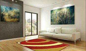 Covor Decorino Modern & Geometric C23-030210, Rosu/Maro/Bej, 100x150 cm