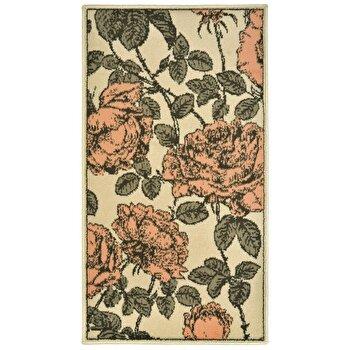 Covor Decorino Floral C05-020135, Roz/Verde/Crem, 60x110 cm