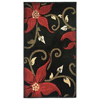 Covor Decorino Floral C05-020139, Negru/Rosu/Verde, 60x110 cm