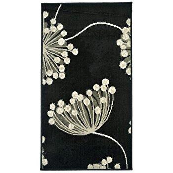 Covor Decorino Floral C04-020146, Negru/Gri, 80x150 cm