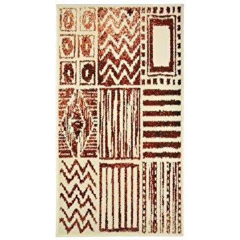 Covor Decorino Modern & Geometric C05-020148, Crem/Maro/Rosu, 60x110 cm elefant