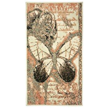 Covor Decorino Floral C05-020181, Roz/Crem, 60x110 cm