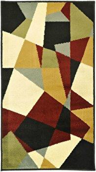 Covor Decorino Modern & Geometric C23-030507, Bej/Rosu/Alb/Verde, 100x150 cm