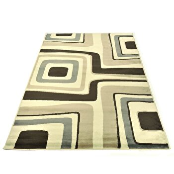 Covor Decorino Modern & Geometric C23-030506, Bej/Maro/Gri, 100x150 cm imagine