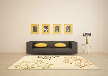 Covor Decorino Floral C04-020116, Crem/Rosu/Verde/Portocaliu, 80x150 cm