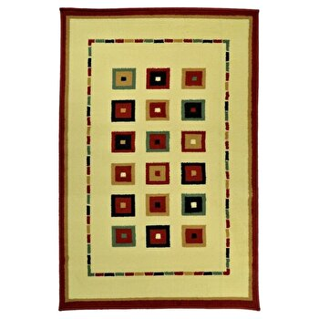 Covor Decorino Modern & Geometric C68-030213, Bej/Multicolor, 133x190 cm