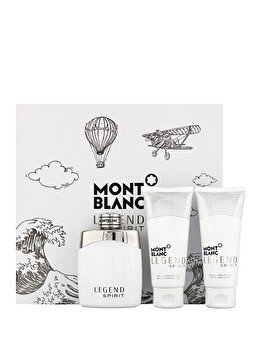 Set cadou Mont blanc Legend Spirit (Apa de toaleta 100 ml + After shave balsam 100 ml + Gel de dus 100 ml), pentru barbati imagine produs