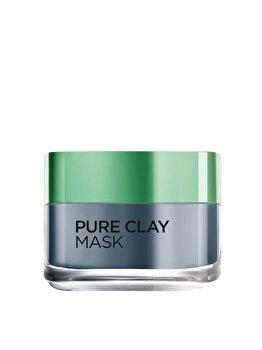 Masca revitalizanta pentru iluminarea tenului L'Oreal Paris Pure Clay cu extract de carbune, 50 ml poza