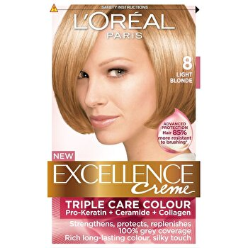 Vopsea de par permanenta cu amoniac L Oreal Paris Excellence 8 Blond Deschis, 192 ml imagine produs