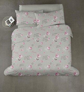Lenjerie de pat dubla Vanora, 4 piese, din microfibra, postal, 200 x 220 cm imagine