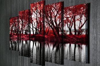 Tablou decorativ pe panza Majestic, 5 Piese, 257MJS3209, Multicolor imagine