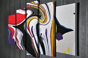 Tablou decorativ pe panza Majestic, 5 Piese, 257MJS3214, Multicolor imagine