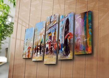 Tablou decorativ Bonanza, 5 Piese, 242BNZ4252, Multicolor elefant