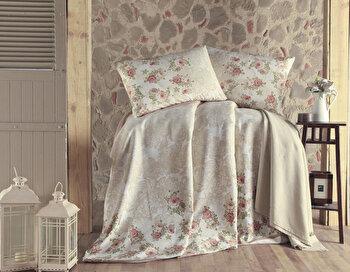 Set cuvertura pentru pat dublu Eponj Home, 143EPJ6215, Alb imagine