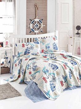 Set cuvertura pentru pat dublu Eponj Home, 143EPJ5657, Albastru