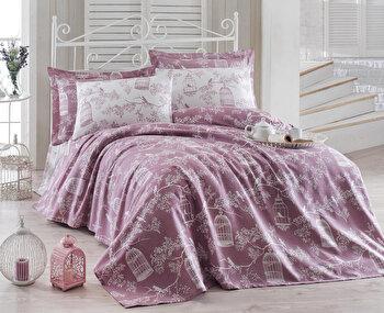 Set cuvertura pentru pat dublu Eponj Home, 143EPJ6067, Mov imagine