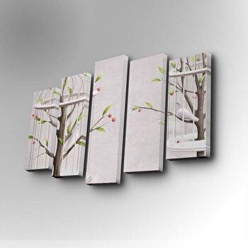 Tablou decorativ pe panza Art Five, 5 Piese, 747AFV1252, Alb elefant