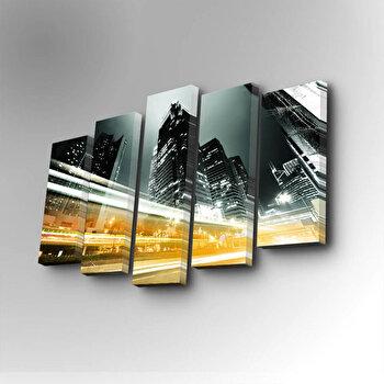 Tablou decorativ pe panza Art Five, 5 Piese, 747AFV1254, Galben imagine