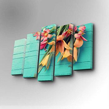 Tablou decorativ pe panza Art Five, 5 Piese, 747AFV1265, Albastru