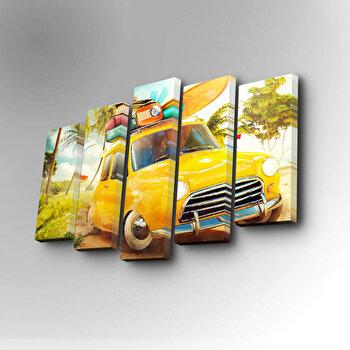 Tablou decorativ pe panza Art Five, 5 Piese, 747AFV1269, Galben