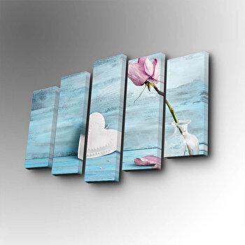 Tablou decorativ pe panza Art Five, 5 Piese, 747AFV1303, Albastru