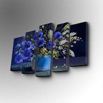 Tablou decorativ pe panza Art Five, 5 Piese, 747AFV1348, Albastru