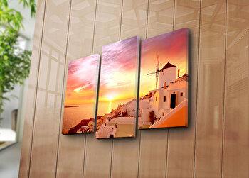 Tablou decorativ pe panza Bonanza, 3 Piese, 242BNZ3280, Multicolor elefant