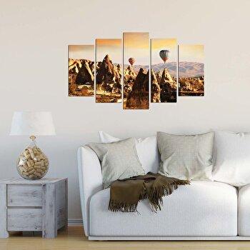 Tablou decorativ multicanvas Charm, 5 Piese, Peisaj, 223CHR1990, Multicolor elefant