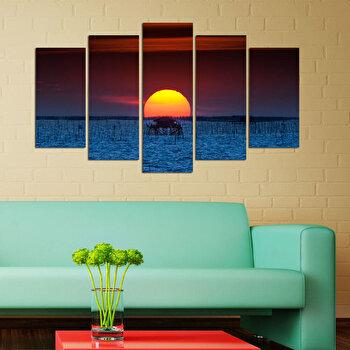 Tablou decorativ multicanvas Charm, 5 Piese, Apus, 223CHR1956, Multicolor elefant