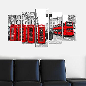 Tablou decorativ multicanvas Charm, 5 Piese, Londra, 223CHR1963, Multicolor elefant