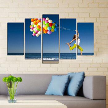 Tablou decorativ multicanvas Charm, 5 Piese, 223CHR1981, Multicolor elefant