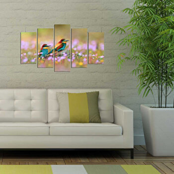 Tablou decorativ multicanvas Fascination 5 Piese, 224FSC1985, Multicolor elefant