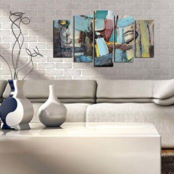 Tablou decorativ multicanvas Pure, 5 Piese, 250PUR1926, Multicolor elefant