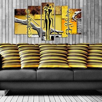 Tablou decorativ multicanvas Pure, 5 Piese, 250PUR1942, Multicolor elefant