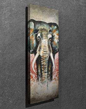 Tablou decorativ pe panza Symphony, 762SYM3219, Multicolor elefant