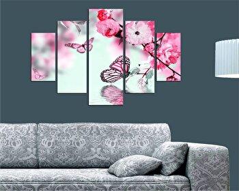 Tablou decorativ multicanvas Miracle, 5 Piese, Flori, 236MIR2911, Multicolor elefant