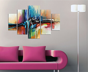 Tablou decorativ multicanvas Miracle, 5 Piese, Abstract, 236MIR2929, Multicolor