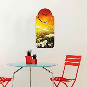 Ceas decorativ de perete din lemn Home Art, 2 Piese, 238HMA5106, Multicolor