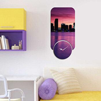 Ceas decorativ de perete din lemn Home Art 2 Piese 238HMA5183 Multicolor