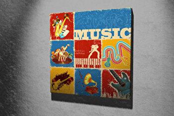 Tablou decorativ pe panza Majestic, 257MJS1257, 45 x 45 cm, Multicolor imagine