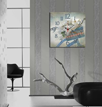 Ceas decorativ de perete Home Art, 238HMA3198, 40 x 40 cm, Multicolor elefant
